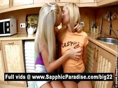 Hot blonde lesbians kisisng and licking nipples and having lesbian sex