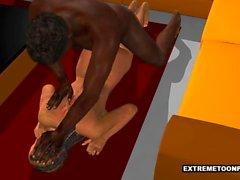 Rävaktig 3D för Zombie Babe Med Black Cock