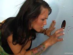 Pornstar Jenna Presley sucks HUGE cock in bathroom gloryhole