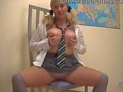 Busty Chubby English Schoolgirl In Tan Pantyhose and Socks