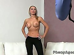 Big tits slim blonde amateur fucked on casting