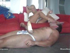 Dannii Harwood uses slave as foot stool