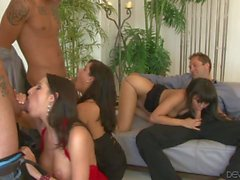 Group cock sucking with Annie Cruz and Missy Maze