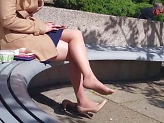 Candid Pantyhose Shoeplay Outdoor Part1