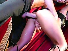 Asian babe Lana Violet in black boots. She's s slave
