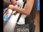 hot milf white see thru dress,, nice thong shot