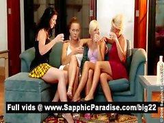 Подозрительный брюнетка и блондинка лесби поцелуи и облизывает патрубки на четыре способом лесбиянок вакханалии