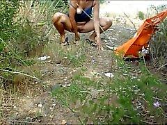 наружной Masturbating и наглец на пляже на Montsita