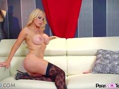 Pornstar Tease - Nikki Benz Reveal her big boobs and perfectly tight twat