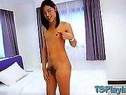 Cute tiny titted tranny Tongta playing with her dick