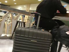 Spy exposed thong at Malpensa Airport Milan