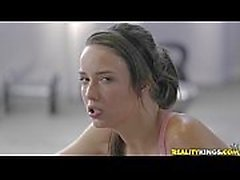 Beautiful Lesbians Malena Morgan and Alyssa Reece Gym Work Out!