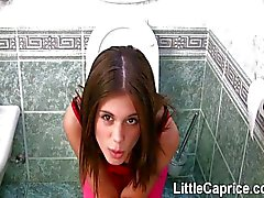 Famous Little Caprice gets mouthful in the WC