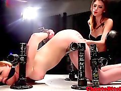 Lezdom bdsm being punished with electrosex