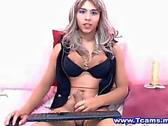 Tranny Jerking Off Her Hard Cock On Cam