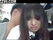 schoolgirl threesome fucked by bus geek