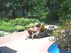 Vit Lesbians utomhusaktiviteter nära The pool i