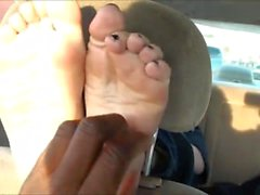 Abby Normal Tickled Soles in Car