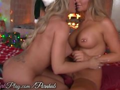 When Girls Play - Two busty lesbians warm up by the fire