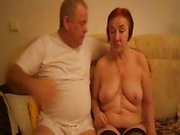 Horny old redheaded granny sucks her hubby's cock then gets her nasty pussy licked