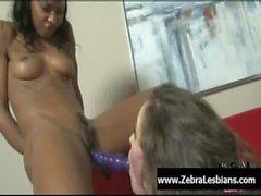Zebra Girls - Ebony lesbian babes enjoy deep strap-on fuck 02