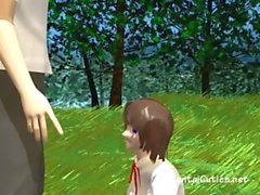 Young innocent anime schoolgirl meets teacher in the woods and munches his dick