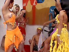 Six Gorgeous Belly Dancing Trannies VS. One Lucky Guy!