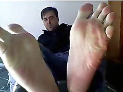 Straight guys feet on webcam #244