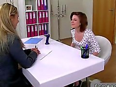 Female agent fucks an amateur with a strapon dildo