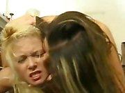 Blonde vs Brunette Smother Catfight