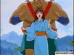 Хентай девочка получает выебанная от гиганта человек на открытом воздухе