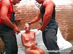 Horny slave slut in foil getting part1