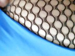 Vue arrière collants résille justaucorps bleu
