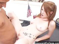 Cute little redhead gets her pussy pounded by her principal at sc