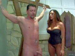 Milfy domina Ariella Ferrera and her helpless male slave