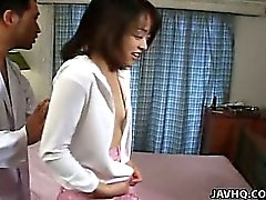 Cute Japanese teen gets Asian hairy pussy abused