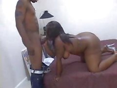 Big chubby ebony eats his cock and then bounces on his cock