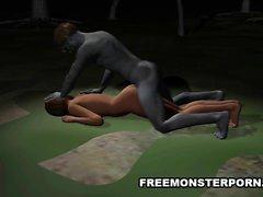 Storbystade 3D tecknad baben knullad outdoors genom ett zombie