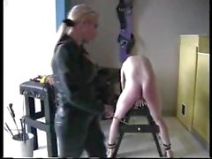 Naughty dude gets tortured by his blonde mistress with clothes pins and a whip
