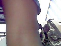 great upskirt sheer pantyhose of hot brunette