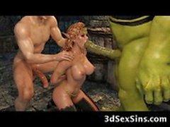 3D Ogre Fucks Эльфов принцесса!