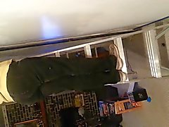 Тетки Попка стоял на лестнице Холст Milf Ebony Voyeur