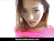 Tiny Asian Teen In Pink Fishnets Rough Fuck