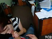 Glamorous teen blows knob masterfully and rides it well