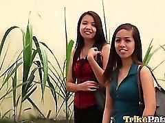 Azgın Filipina Aiza ona iyi arkadaşı cinsiyet dışarı Pimped edilir
