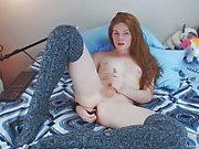 redhead cums hard wearing knee high socks by Melody Lane