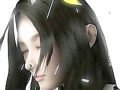 Aux gros seins de Minx des hentai 3D montrant chatte rose de