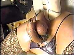 Huge fuckin anal dildo with exterme anal insertion.