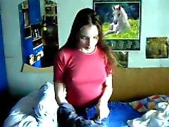 Jonge Poolse Amateur tiener meisje houdt van zelfgemaakte neuken