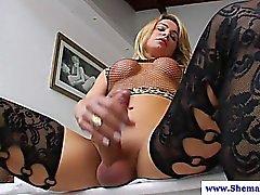 Sexy shemale Camille Andrade masturbates